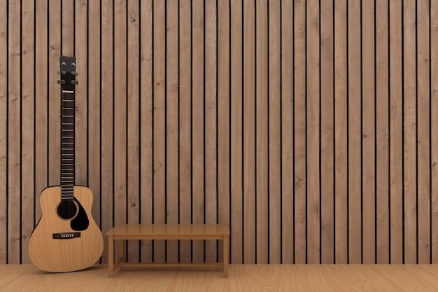 Houten gitaar in het houten ontwerp van de plankruimte in het 3d teruggeven