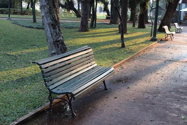 Houten groene bank op het plein tussen bomen