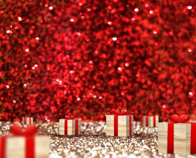 Houten huidige doos met rood lint (3d-rendering) in rood en goud glitter
