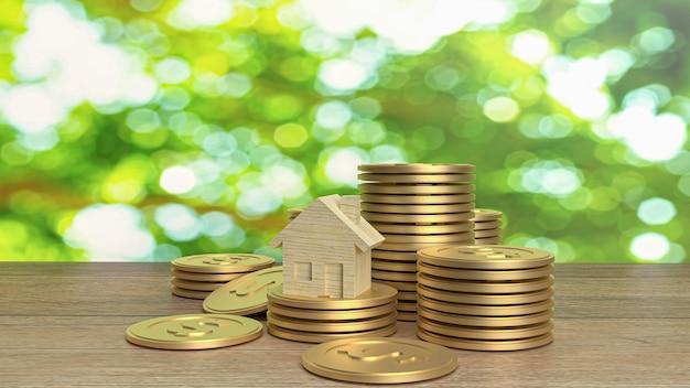 Houten huis en gouden munten op houten tafel voor het opbouwen van inhoud