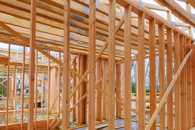 Houten huis framing abstract op bouwplaats.