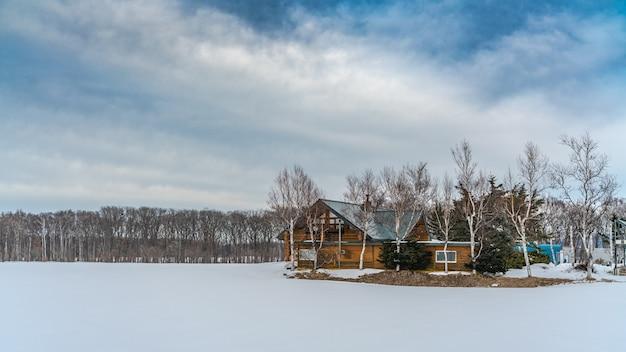 Houten huis in de winter