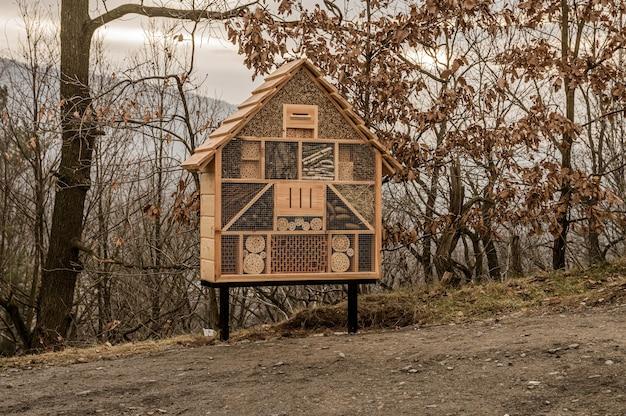 Houten huis voor bijen en insecten in een bos bedekt met bomen onder een bewolkte hemel in de herfst