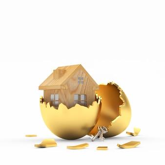 Houten huisje binnen een gouden gebroken paasei. 3d illustratie