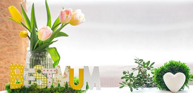 Houten inscriptie voor moederdag op een houten tafel
