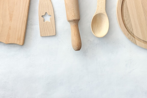Houten keukengerei. geassorteerde set houten keukengerei