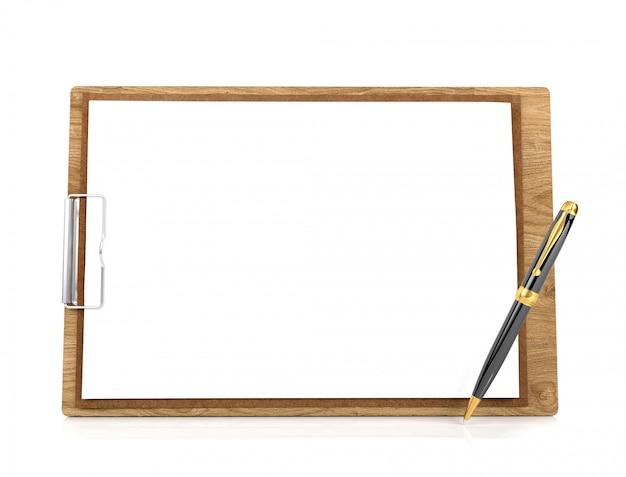 Houten klembord met blanco papier en pen
