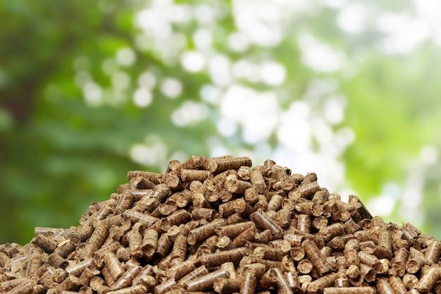 Houten korrels op green. biobrandstoffen.