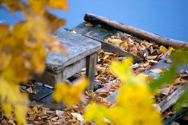 Houten kruk gevallen bladeren hoek oude stands