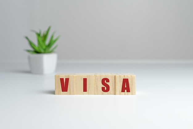 Houten kubusblok met visa-bedrijfswoord op lijstachtergrond.
