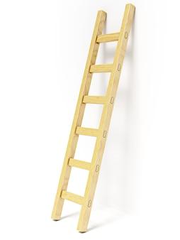 Houten ladder in de buurt van witte muur