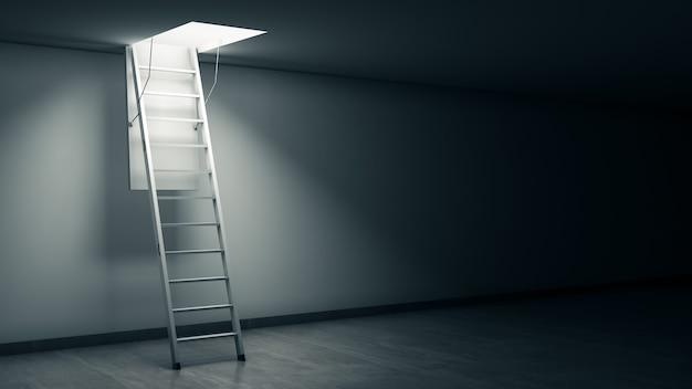 Houten ladder naar de zolder met lichte 3d-rendering