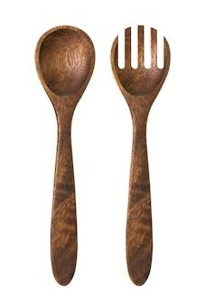 Houten lepel en vork geïsoleerd op wit met uitknippad