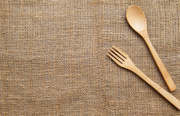 Houten lepel en vork