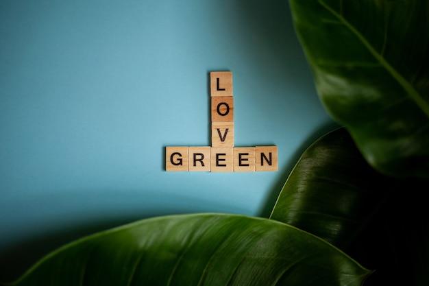 Houten letters met de inscriptie liefde groen licht houten letters op een blauwe achtergrond plat leggen