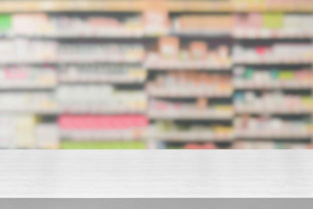 Houten lijst op apotheek of drogisterijachtergrond.