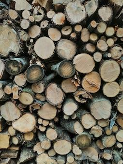 Houten logboekenachtergrond