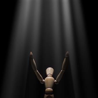Houten mannequin verhoogde handen naar licht