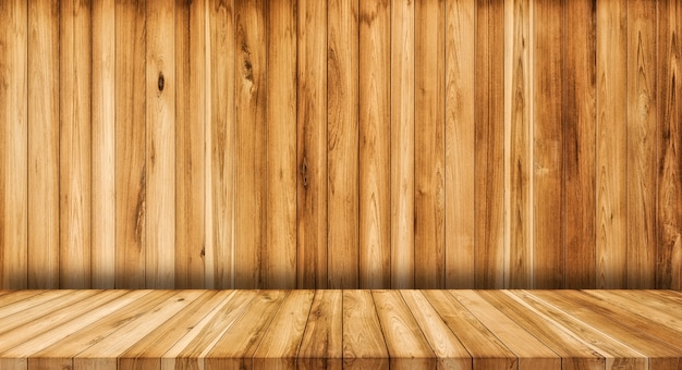 Houten muur en houten vloer textuur achtergrond