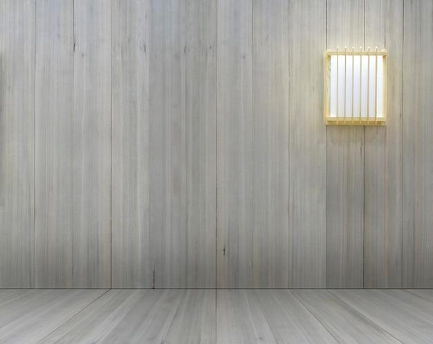 Houten muur met lampmodel in japanse stijl voor interieurdecoratie