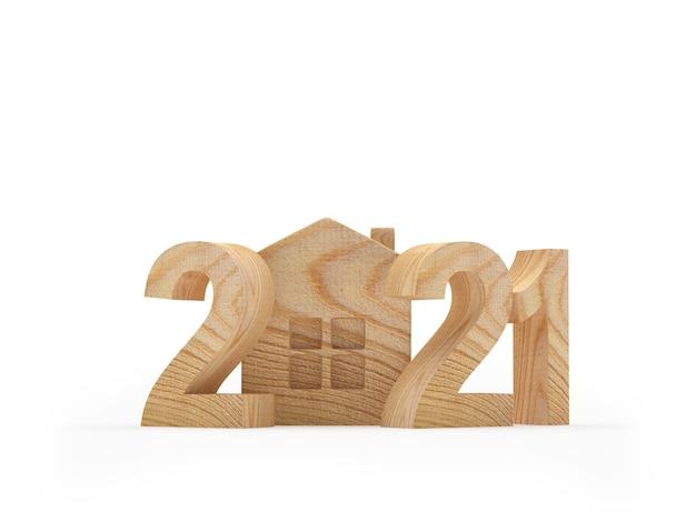 Houten nummer 2021 met huisje