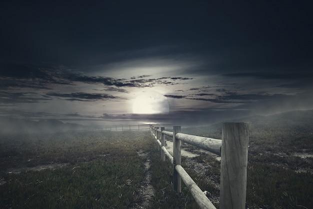 Houten omheining met mist op griezelig grasgebied bij nacht