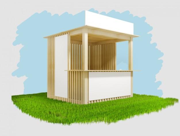 Houten paviljoen met ruimte voor reclame, 3d illustratie