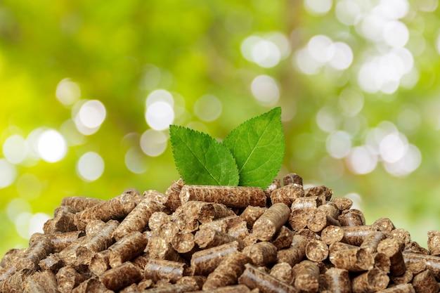 Houten pellets op een groene natuur. biobrandstoffen.