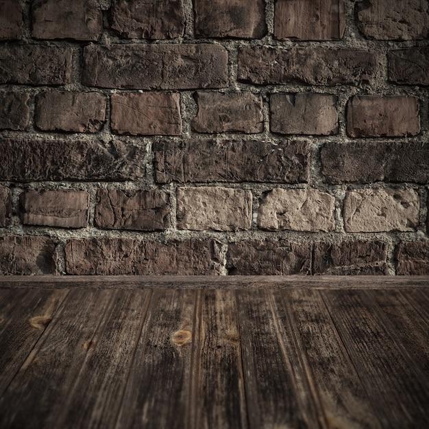 Houten perspectief en bakstenen muurachtergrond