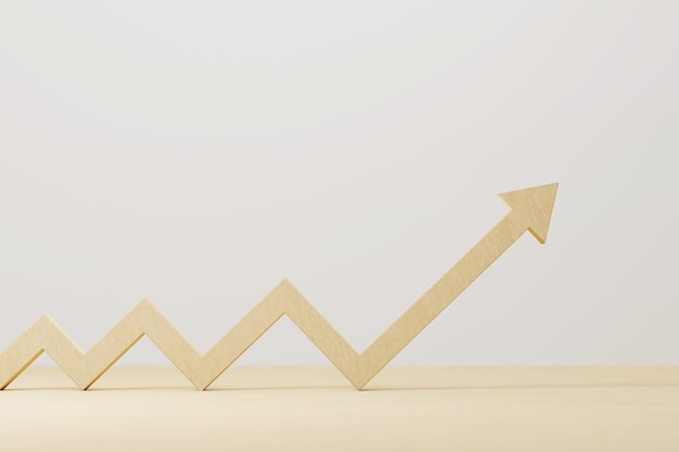 Houten pijl teken groei op houten tafel. bedrijfsontwikkeling tot succes en groeiend groeiconcept. 3d illustratie