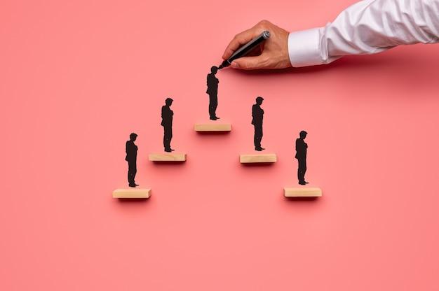 Houten pinnen geplaatst in de vorm van een piramide met mannelijke hand tekenen van een persoon op elke stap. over roze achtergrond.