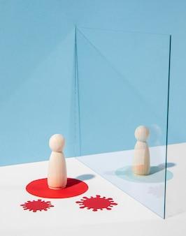 Houten pionnen met glazen verdeler voor veiligheid tegen coronavirus