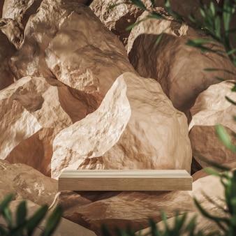 Houten plank op beige rots op rotsen achtergrond vervaging plant voorgrond