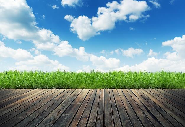 Houten plank op natuurlijk groen gras