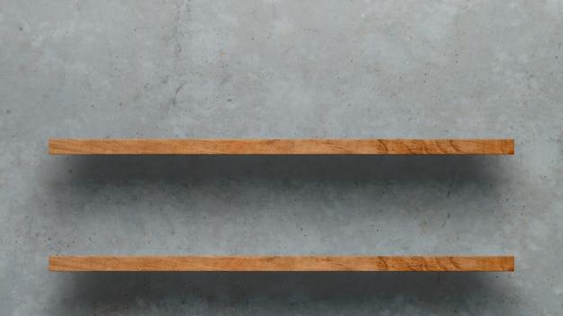 Houten plank over witte betonnen muur achtergrond