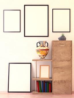 Houten planken en map met documenten. ethno vaas. groen gras in een vaas.