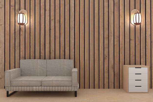 Houten plankruimte met ontwerpbank en plank in het 3d teruggeven