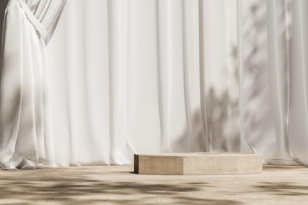 Houten platform op houten en wit gordijn, parasol en bomen schaduw op de achtergrond. abstracte achtergrond voor product of advertenties presentatie. 3d-rendering