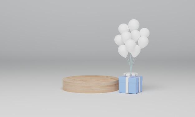 Houten podia en geschenkdoos met ballon. abstracte minimale scène met geometrische.