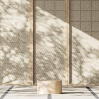 Houten podium middelste japanse kamer zonnescherm en boomschaduwen op japanse partitie