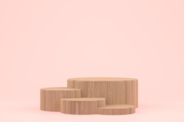 Houten podium minimale 3d-rendering of productstandaard productpresentatie