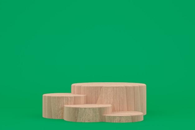 Houten podium minimale 3d-weergave of productstandaard voor cosmetische productpresentatie