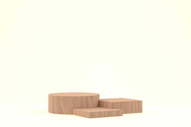 Houten podium minimale rendering of productstandaard voor cosmetische productpresentatie