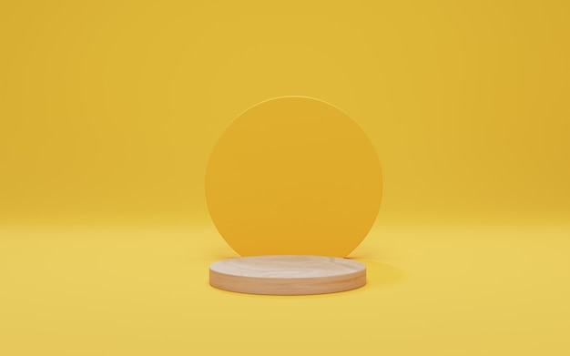 Houten podium op gele achtergrond. bespotten voor weergave van cosmetische producten, podium, podiumvoetstuk. abstracte minimale scène met geometrische vormen. 3d render