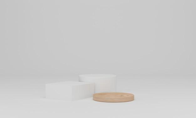 Houten podium op wit