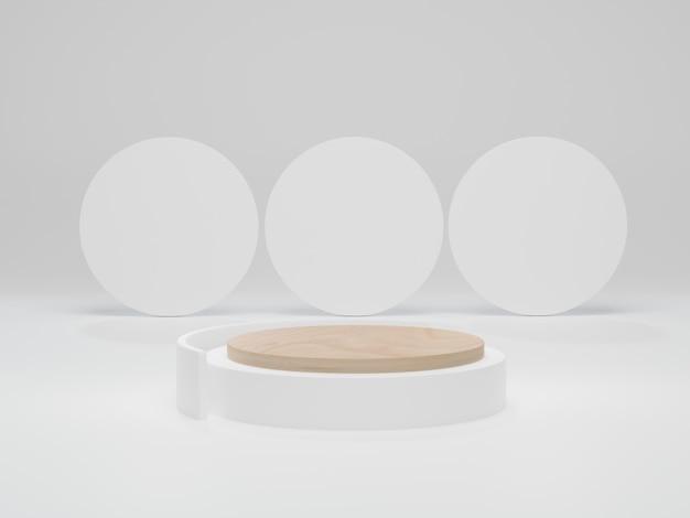 Houten podium op witte achtergrond. bespotten voor weergave van cosmetische producten. abstracte minimale scène met geometrische vormen. 3d render