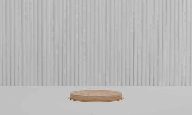 Houten podium op witte kleur