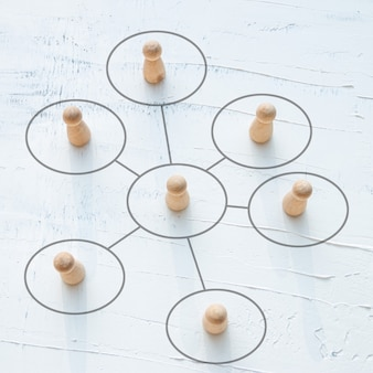 Houten pop, concept van teamwork en coördinatie.