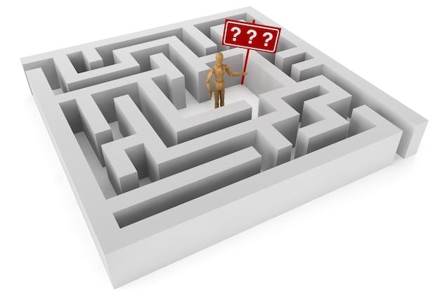 Houten pop met vraagteken in labyrint
