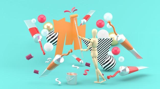 Houten popschildering te midden van gekleurde buizen en kleurrijke ballen op blauw. 3d render
